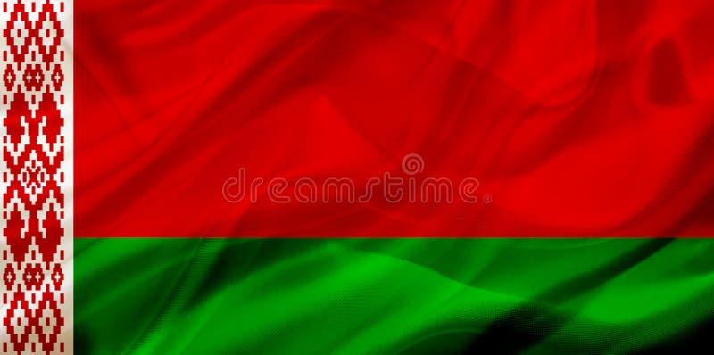 De Witrussische vlag van het land op zijde of zijdeachtige het golven textuur stock illustratie