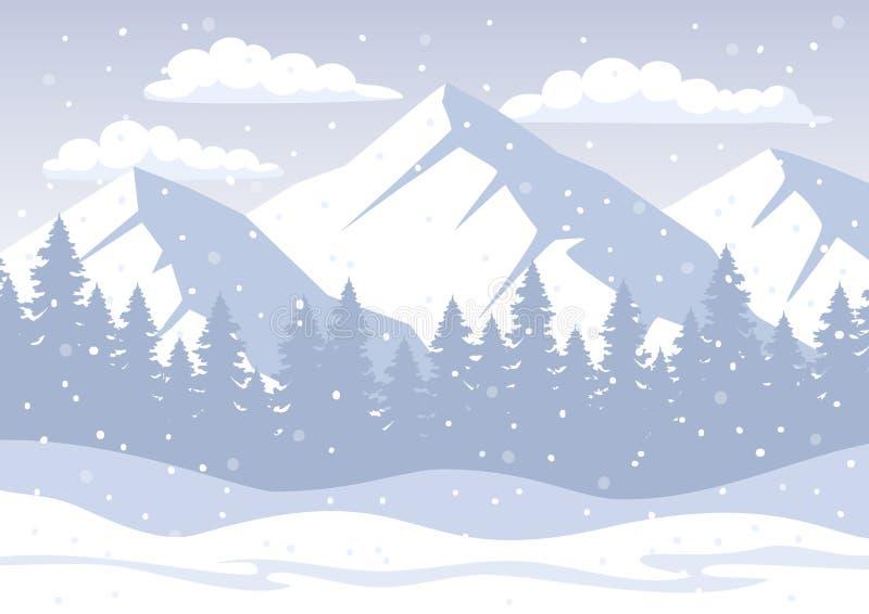 De witte Achtergrond van de Kerstmiswinter met rotsachtige bergen, pijnboombos, sneeuwheuvels, sneeuwvlokken vector illustratie