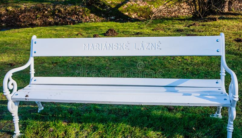 De witte bank kan als symbool van de Marian stad worden beschouwd stock afbeeldingen