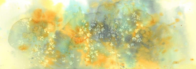 De witte bloesem van de sakurabloem op een gele waterverf als achtergrond royalty-vrije stock afbeelding