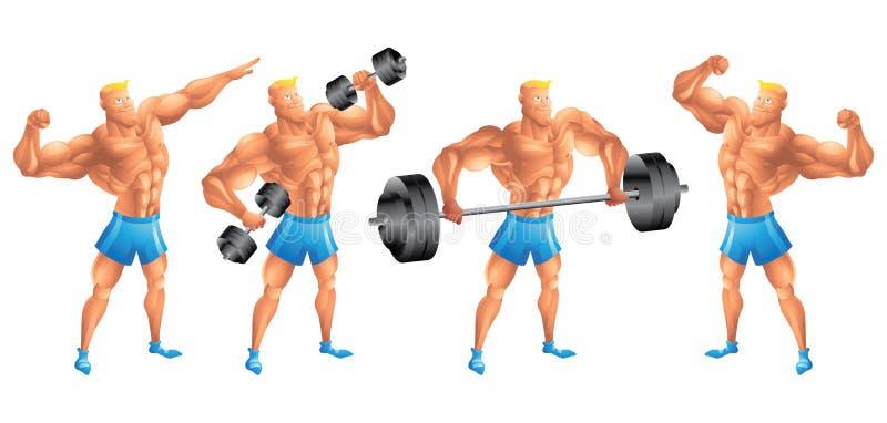De witte bodybuilder in verschillend stelt vector illustratie