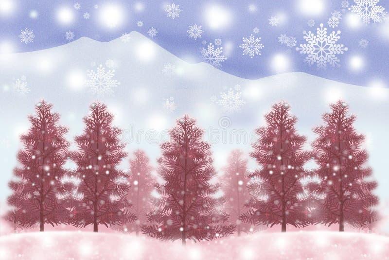 De witte bosachtergrond van de Kerstmiswinter, de bomen van de Kerstmisvakantie met sneeuw - Grafische textuur van het schilderen stock illustratie