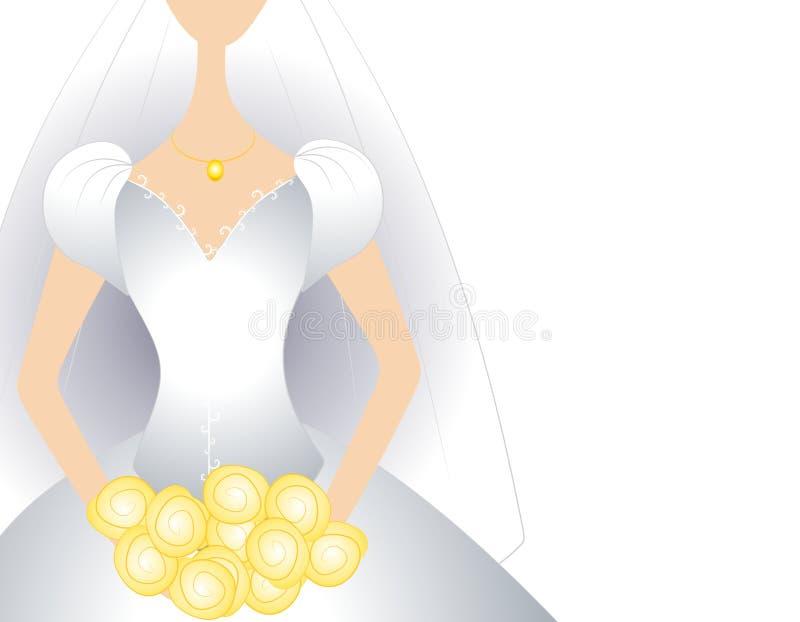 De witte Bruids Kleding van de Toga met Boeket vector illustratie