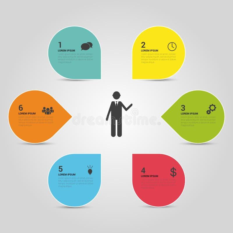 De witte cirkels van het Infographicontwerp op de grijze achtergrond vector illustratie