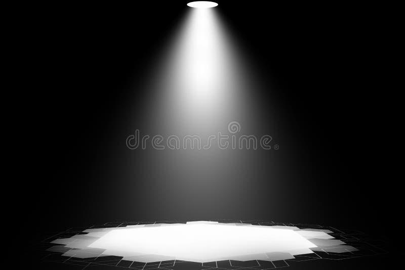 De witte dans van het schijnwerperstadium toont nachtachtergrond vector illustratie