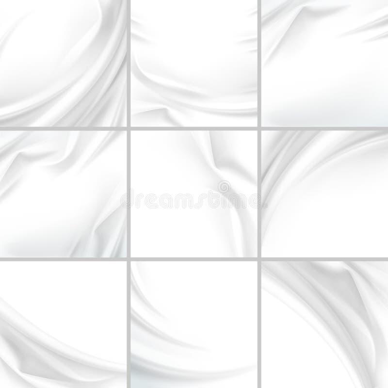 De witte de Stoffentextiel van de Satijn Zijdeachtige Doek drapeert met Vouw Golvende Vouwen abstracte achtergrond royalty-vrije illustratie