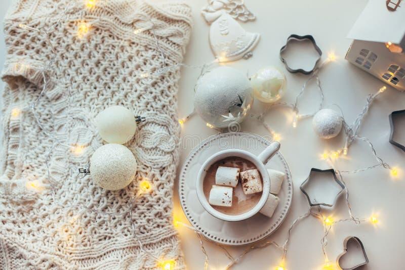 De witte decoratie van Kerstmis stock foto