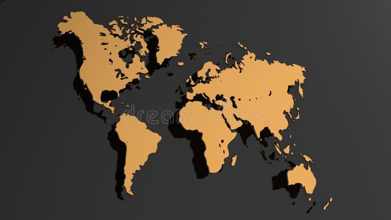 De witte die 3D illustratie van de wereldkaart op witte achtergrond wordt geïsoleerd stock illustratie