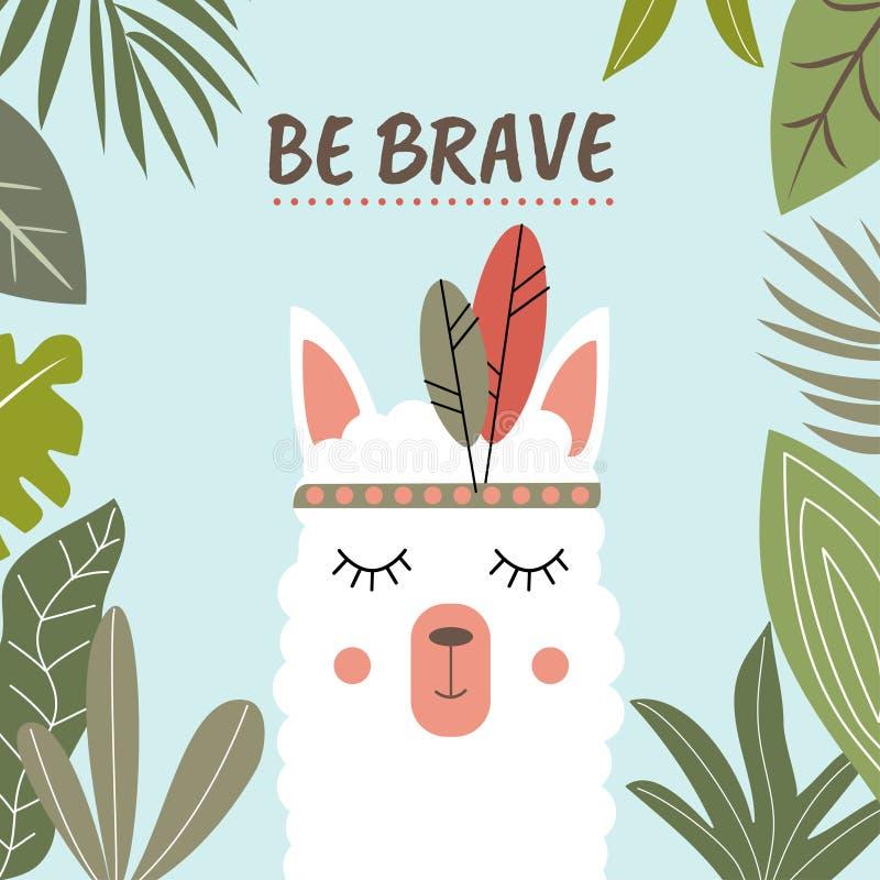De witte die Lama door tropische bladeren en met de inschrijving 'moedig is 'wordt omringd Vector ontwerp royalty-vrije illustratie