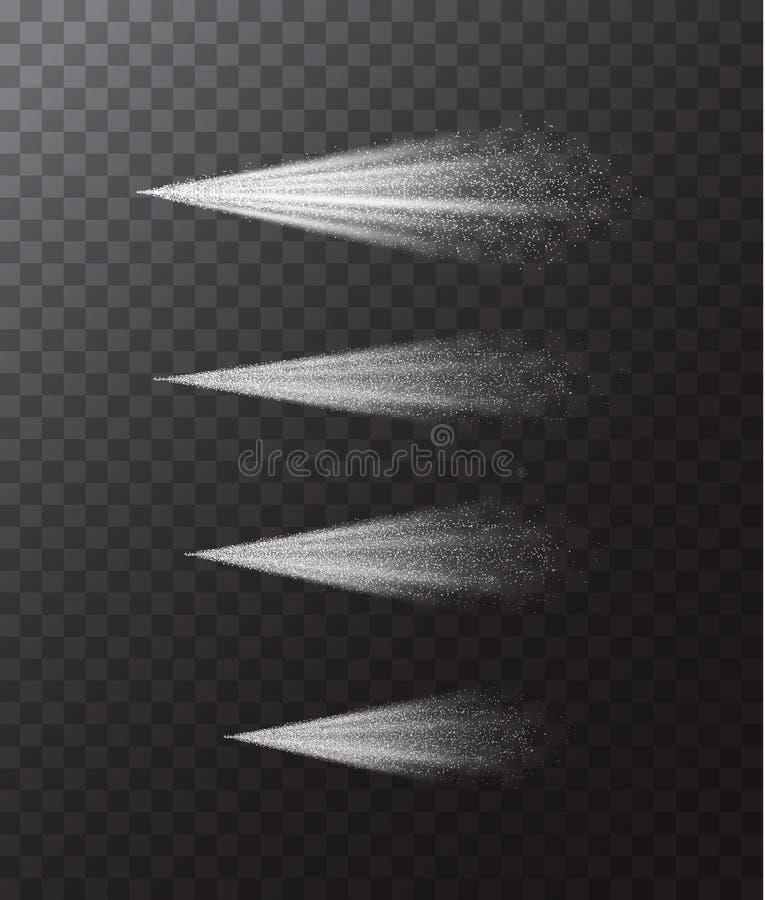 De Witte die Mist van de waternevel op een Transparante Achtergrond wordt geplaatst Vector stock illustratie