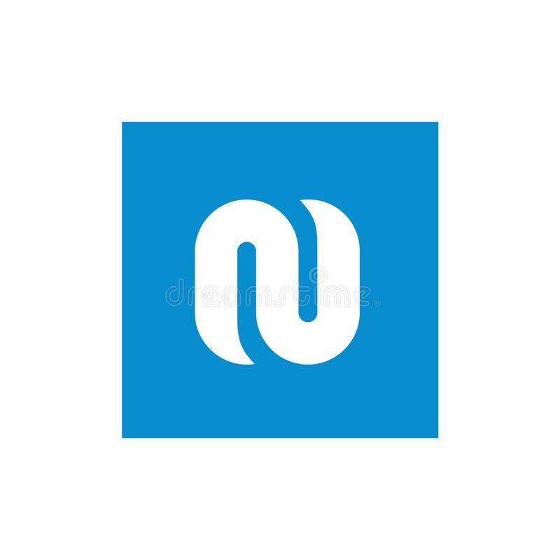 De Witte die N Brief van het symboolalfabet met Blauwe Vierkante, Vectorillustratie wordt gecombineerd royalty-vrije illustratie