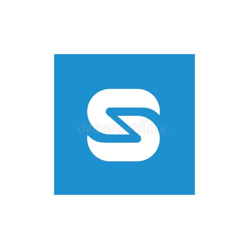 De Witte die S Brief van het symboolalfabet met Blauwe Vierkante, Vectorillustratie wordt gecombineerd royalty-vrije illustratie