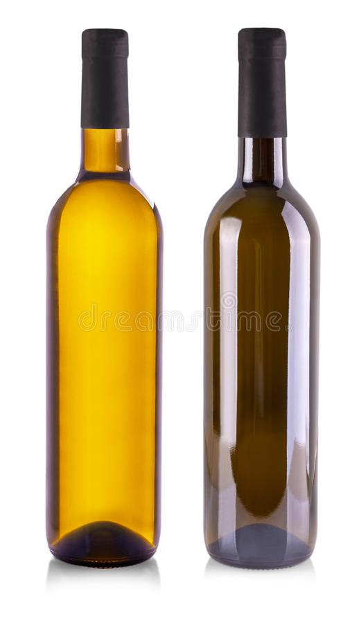 De witte die wijnfles over witte achtergrond wordt geïsoleerd royalty-vrije stock afbeeldingen