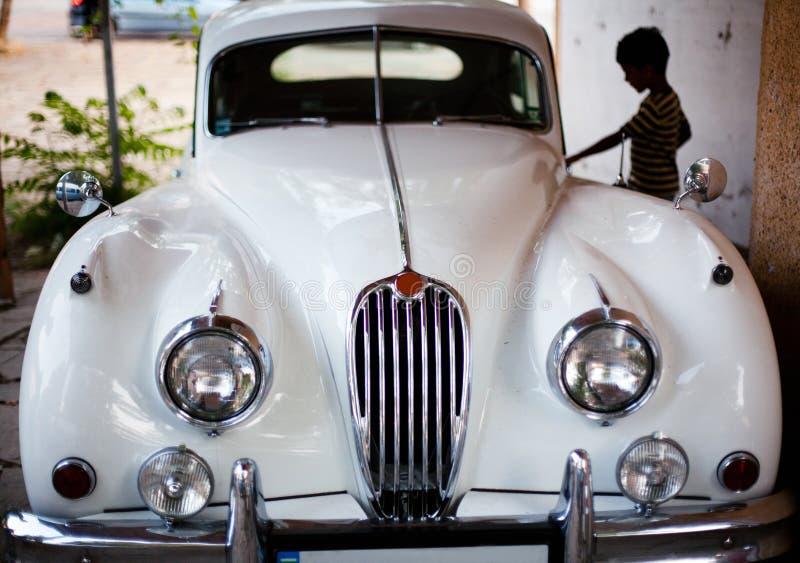 De witte dief van de luxeauto royalty-vrije stock afbeeldingen