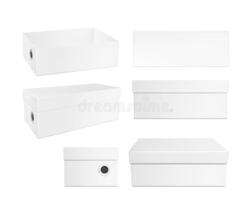 De witte doos van de kartonschoen vector illustratie