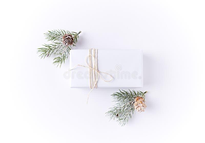 De witte Doos van de Kerstmisgift met Sparren stock fotografie