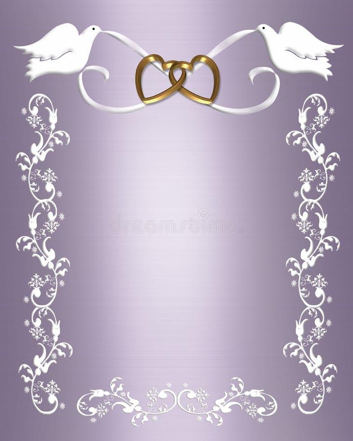 De witte duiven van de Uitnodiging van het huwelijk stock illustratie