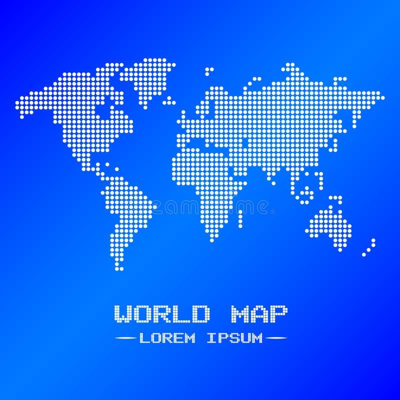 De witte en blauwe vector van de wereldkaart stock illustratie