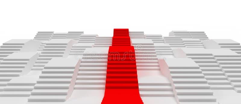 De witte en Rode 3d Tredesamenvatting geeft Concept terug vector illustratie