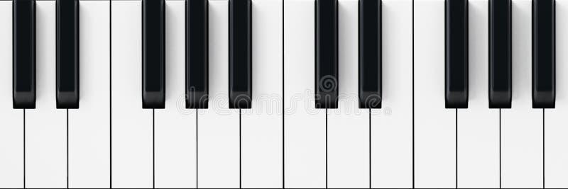 De witte en zwarte achtergrond van pianosleutels 3D Illustratie stock illustratie