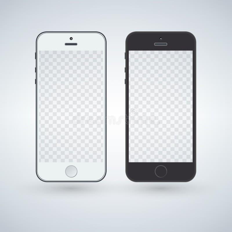 De witte en zwarte slimme illustratie van het telefoonmodel stock illustratie