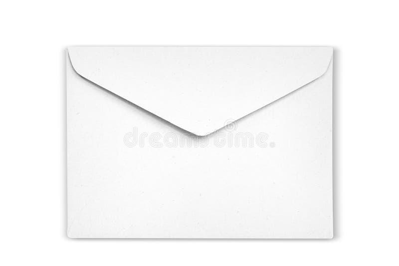 De witte Envelop is op witte achtergrond stock afbeeldingen