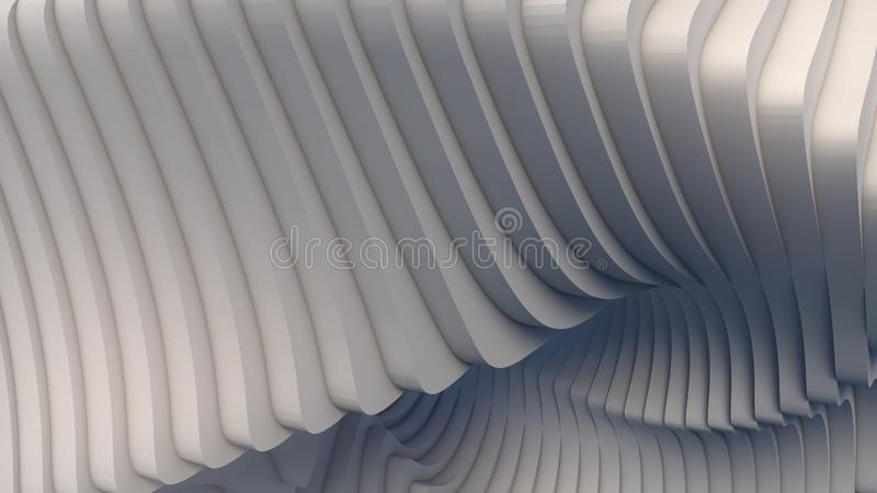 De witte futuristische achtergrond van het streeppatroon 3d geef illustratie terug royalty-vrije illustratie