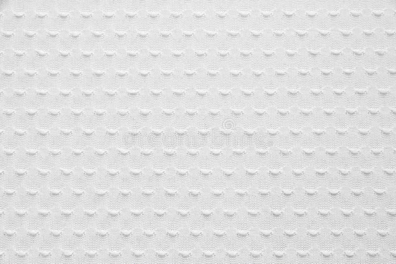 De witte Gebreide Textuur van de Stof stock afbeelding