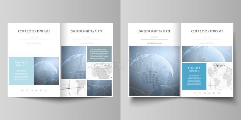 De witte gekleurde vectorillustratie van de editable lay-out van twee A4 formatteert moderne dekkingsontwerpsjablonen voor royalty-vrije illustratie
