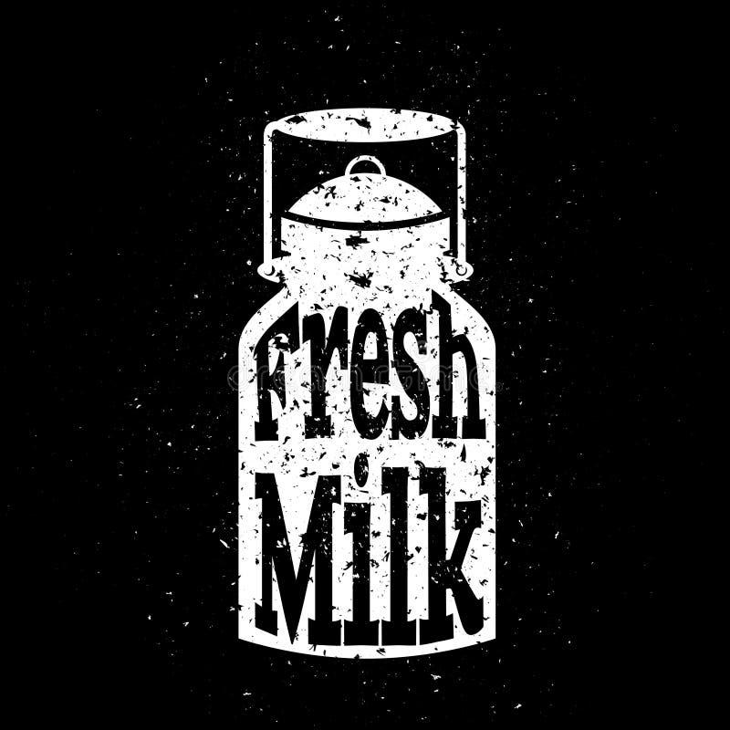 De witte gekraste melk kan op zwarte achtergrond met royalty-vrije illustratie