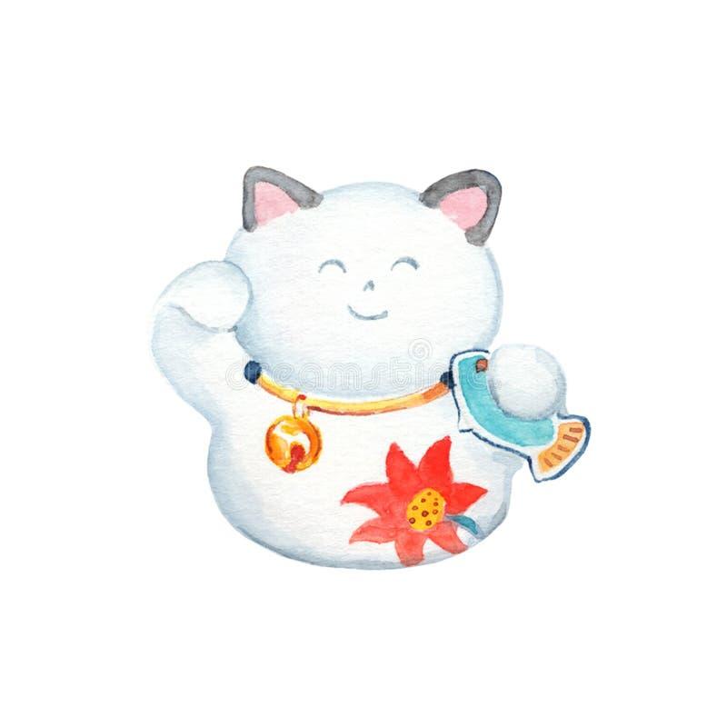 De witte gelukkige illustratie van de kattenwaterverf op witte achtergrond Traditioneel Chinees kattenbeeldje vector illustratie