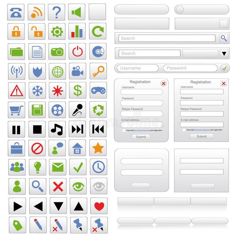De witte geplaatste elementen van het Webontwerp vector illustratie