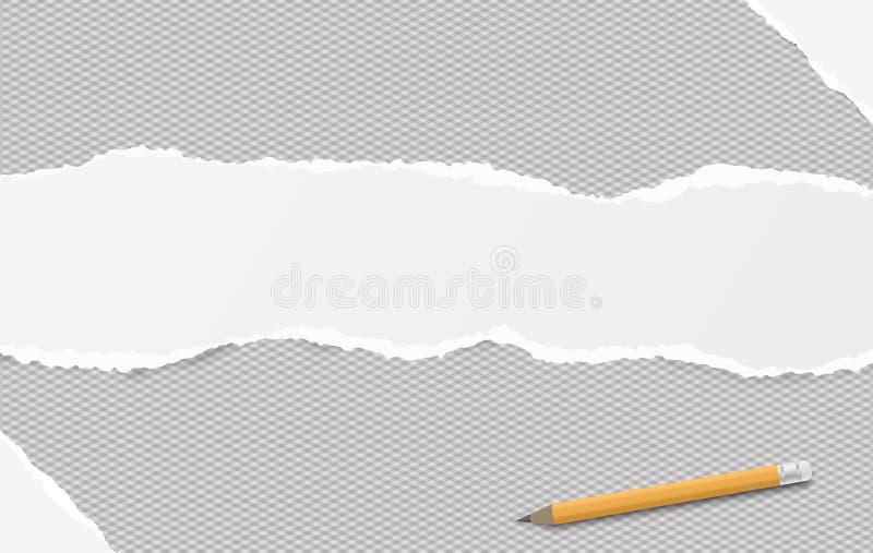De witte gescheurde langwerpige document strook plaatste één geregelde horizontale achtergrond, document voor nota Vector illustr stock illustratie
