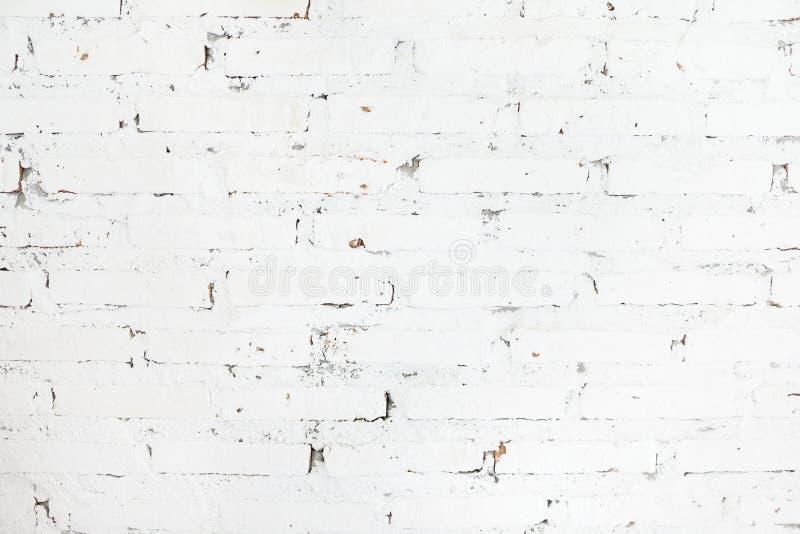 De witte geschilderde achtergrond van de bakstenen muurtextuur Architectuur, binnenlands ontwerpconcept Skandinavische stijl royalty-vrije stock foto