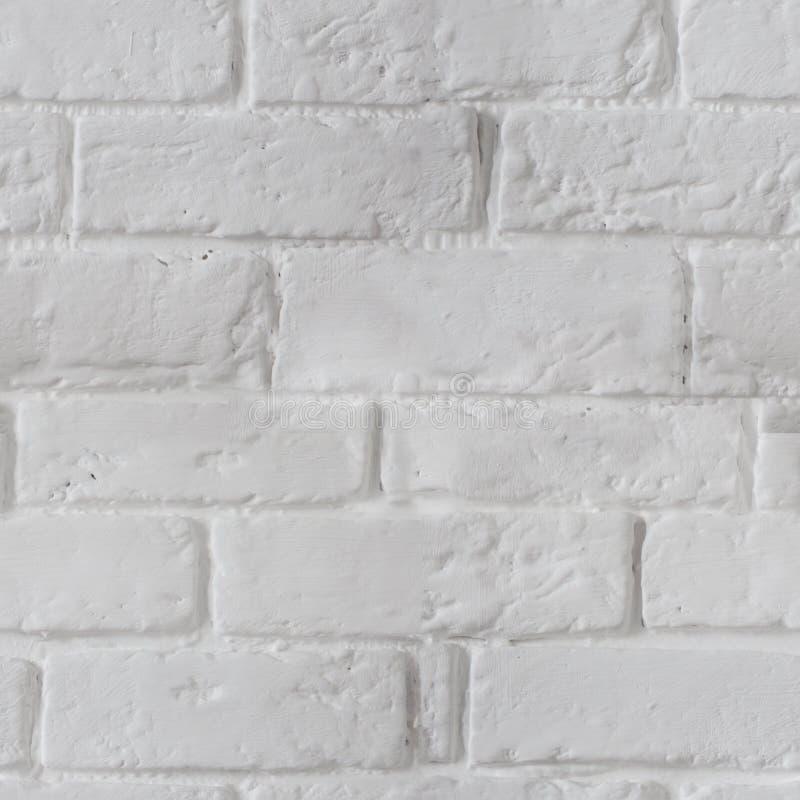 De witte geschilderde Naadloze achtergrond van de bakstenen muurtextuur royalty-vrije stock afbeeldingen