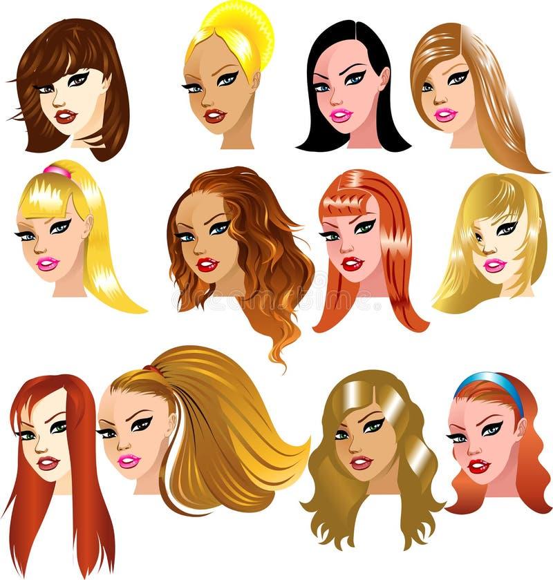 De witte Gezichten van Vrouwen stock illustratie