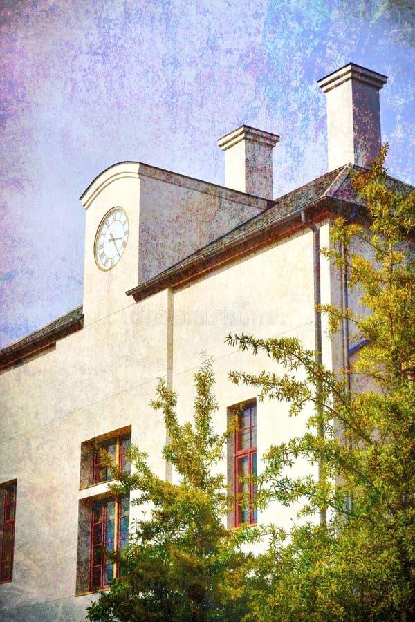 De witte gipspleisterbouw in voert painterly uit - textuur royalty-vrije stock afbeelding