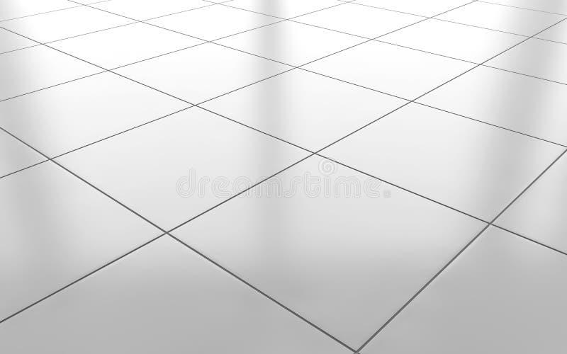 De witte glanzende achtergrond van de keramische tegelvloer het 3d teruggeven vector illustratie