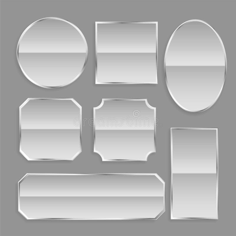 De witte glanzende knopen van het metaalkader met bezinning stock illustratie