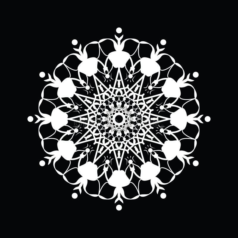De witte goede stemming van het Mandalapatroon Bloemen rond decoratief symbool royalty-vrije illustratie