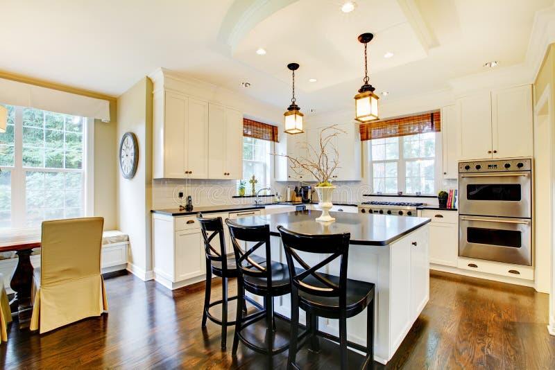 De Witte Grote Donkere Vloer Van De Luxe Moderne Keuken Wih Royalty vrije Stock Fotografie