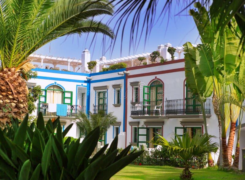 De witte huizen van Gran Canaria Puerto DE Mogan stock afbeelding