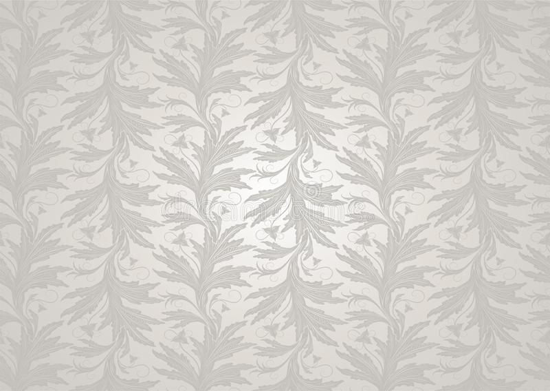 De witte huwelijksachtergrond met een parel glanst, koninklijk, wijnoogst met klassiek bloemen Barok patroon vector illustratie