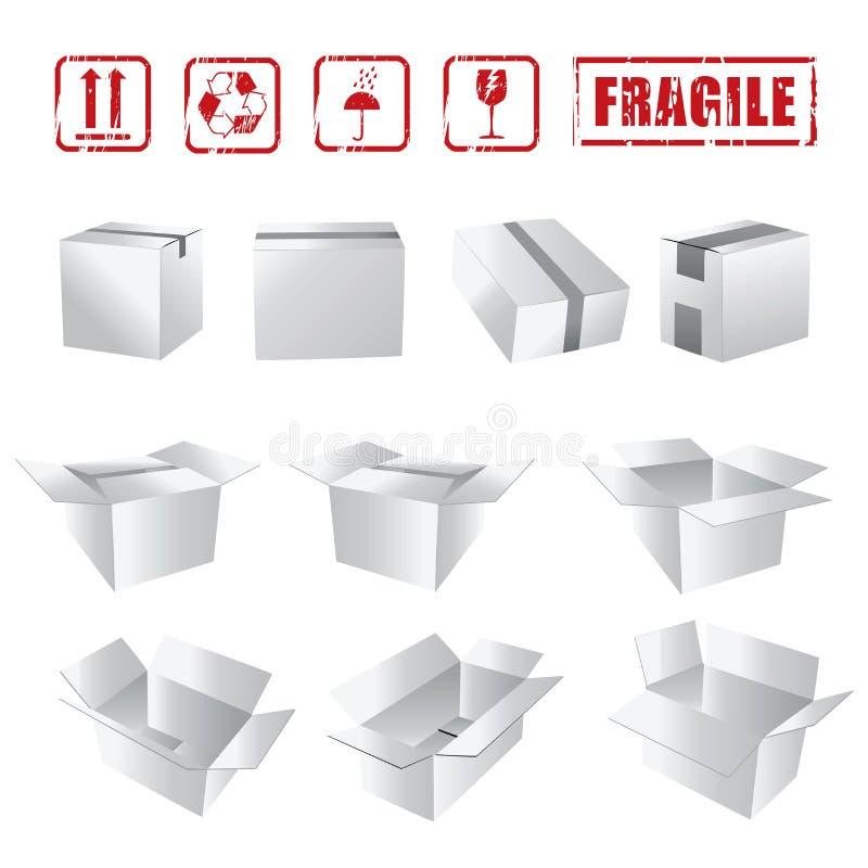 De witte Inzameling van Dozen stock illustratie