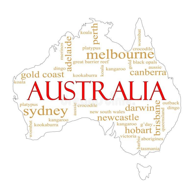 De witte Kaart van de Wolk van Word van Australië royalty-vrije illustratie