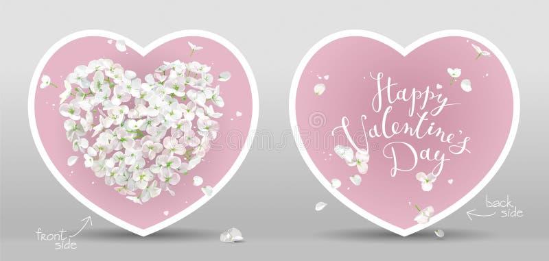 De witte kaarten van het Bloem vectorhart voor de Dag van Valentine op roze achtergrond royalty-vrije illustratie