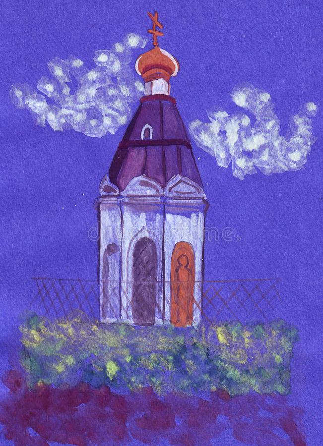 De witte kapel die van Krasnoyarsk van illustratieaantrekkelijkheden zich op de heuvel bevinden royalty-vrije stock foto