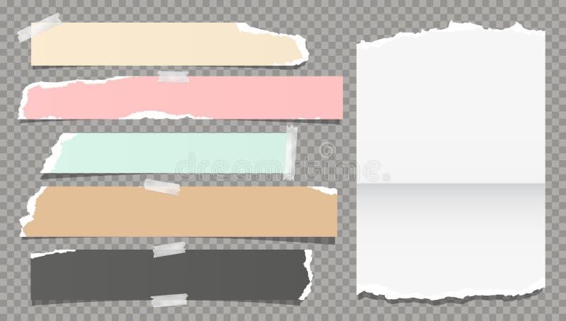 De witte kleurrijke gescheurde, gescheurde nota, notitieboekjedocument stroken, plakte met kleverige band op donkere grijze achte stock illustratie