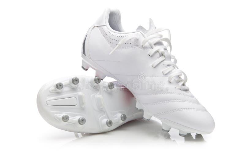 De witte Laarzen van het Voetbal royalty-vrije stock fotografie