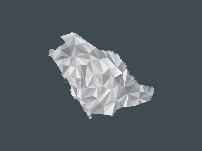 De witte lage poly vectorkaart van kleurensaudi-arabië met geometrische vormen of driehoeken op zwarte illustratie als achtergron stock illustratie